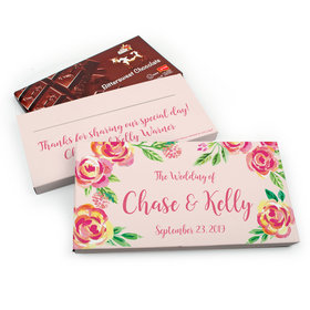 Deluxe Personalized Wedding Pink Flowers Chocolate Parve Bar in Gift Box (3.5oz Bar)