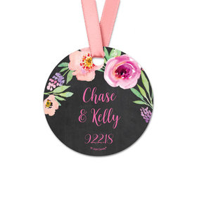 Personalized Bonnie Marcus Collection Round Floral Embrace Wedding Favor Gift Tags (20 Pack)