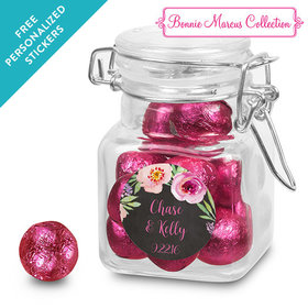 Bonnie Marcus Collection Personalized Latch Jar Floral Embrace Custom Wedding Favor (12 Pack)