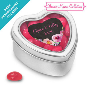 Bonnie Marcus Collection Personalized Small Heart Tin Floral Embrace Custom Wedding Favor (25 Pack)