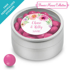 Bonnie Marcus Collection Personalized Small Round Tin Floral Embrace Custom Wedding Favor (25 Pack)