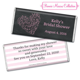 Bonnie Marcus Collection Personalized Chocolate Bar Bridal Shower Favors - Whispering Heart Wrapper with Gold Foil