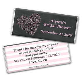 Bonnie Marcus Collection Personalized Chocolate Bar Wrappers Bridal Shower Favors - Whispering Heart Wrapper