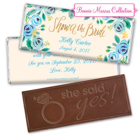 Bonnie Marcus Collection Personalized Embossed Chocolate Bar Bridal Shower Here's Something Blue Personalized