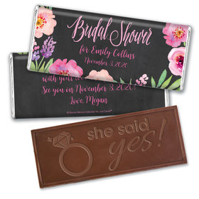 Bonnie Marcus Collection Personalized Embossed Chocolate Bar Bridal Shower Floral Embrace Personalized
