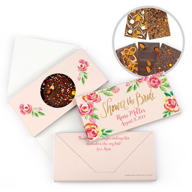 Personalized Bonnie Marcus Bridal Shower Pink Flowers Gourmet Infused Belgian Chocolate Bars (3.5oz)