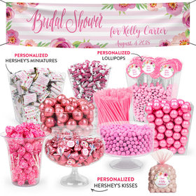 Personalized Bridal Shower Pink Stripes Deluxe Candy Buffet
