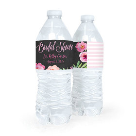 Personalized Bridal Shower Floral Embrace Water Bottle Sticker Labels (5 Labels)