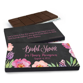 Deluxe Personalized Wedding Floral Embrace Belgian Chocolate Bar in Gift Box (3oz Bar)