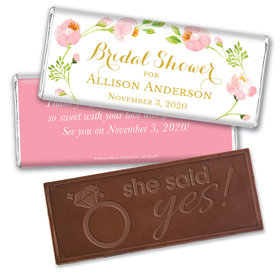 Personalized Bonnie Marcus Bridal Shower Botanical Wreath Embossed Chocolate Bar & Wrapper