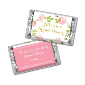 Personalized Bonnie Marcus Bridal Shower Pink Botanical Wreath Mini Wrappers Only