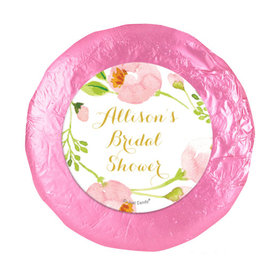 """Personalized Bonnie Marcus Wedding Pink Botanical Wreath 1.25"""" Stickers (48 Stickers)"""