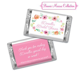 Personalized Bonnie Marcus Bridal Shower Water Color White Blossoms Hershey's Miniatures