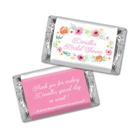 Personalized Bonnie Marcus Bridal Shower Water Color White Blossoms Mini Wrappers Only