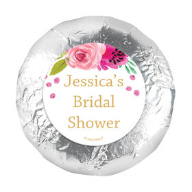 "Personalized Bridal Shower Magenta Florals 1.25"" Stickers (48 Stickers)"