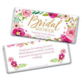 Personalized Bonnie Marcus Bridal Shower Magenta Florals Chocolate Bar & Wrapper
