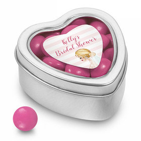 Bonnie Marcus Collection Personalized Small Heart Tin Bridal Shower Bridal March Personalized (25 Pack)