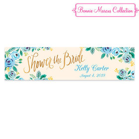 Personalized Bridal Shower Blue Flowers 5 Ft. Banner