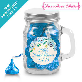 Bonnie Marcus Collection Personalized Mini Mason Jar - Bridal Shower Here's Something Blue Personalized (12 Pack)
