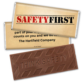 "Personalized Embossed Think Safety Chocolate Bar ""Safety First"" National Safety Month"