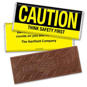 Personalized Embossed Think Safety Chocolate Bar Caution Think Safety First