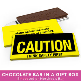 Deluxe Personalized Business Caution Chocolate Bar in Gift Box