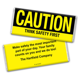 Business Personalized Chocolate Bar Wrappers Caution Think Safety First