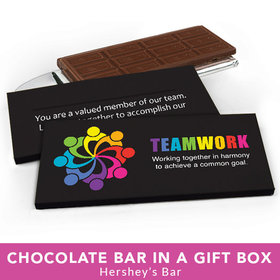 Deluxe Personalized Business All Hands In Teamwork Chocolate Bar in Gift Box