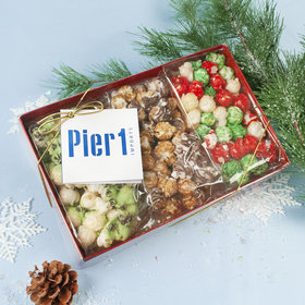 Personalized Add Your Logo Gourmet Popcorn 3pk Gift Box with Tag