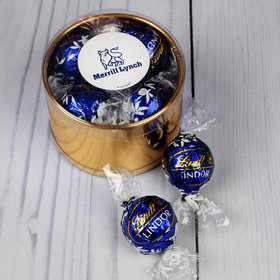 Personalized Holiday Add Your Logo Gift Plastic Tin Approx 9 Lindor Truffles by Lindt
