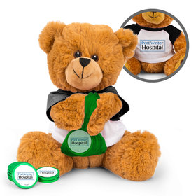 Personalized Business Add Your Logo Teddy Bear with Chocolate Coins in XS Organza Bag