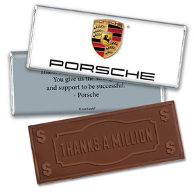 Personalized Business Add Your Logo Embossed Thanks a Million Chocolate Bar