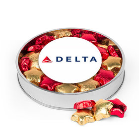 Personalized Add Your Logo Large Plastic Tin with Gold & Red Milk Chocolate Foiled Stars