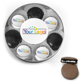 Personalized Add Your Logo Belgian Chocolate Covered Oreo Cookies Large Plastic Tin