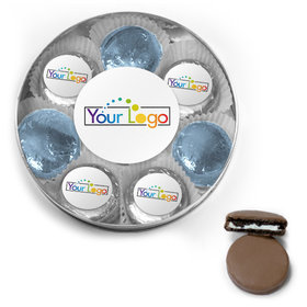 Personalized Add Your Logo Chocolate Covered Oreo Cookies Large Plastic Tin