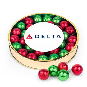Personalized Add Your Logo Large Plastic Tin with Red & Green Caramel Filled Foil Balls