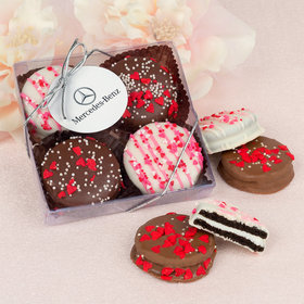 Personalized Valentine's Day Add Your Logo Gourmet Belgian Chocolate Covered Oreos 4pc Gift Box