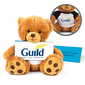 Personalized Business Add Your Logo Teddy Bear with Belgian Chocolate Bar in Deluxe Gift Box