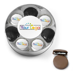 Personalized Add Your Logo Belgian Chocolate Covered Oreo Cookies XL Plastic Tin