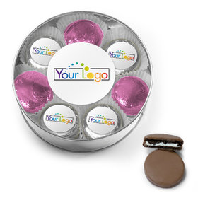 Personalized Add Your Logo Chocolate Covered Oreo Cookies XL Plastic Tin