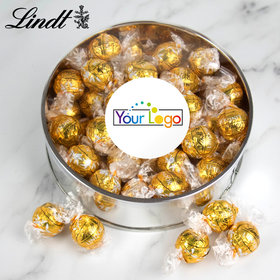 Personalized Add Your Logo Extra Large Silver Lindt Gift Tin