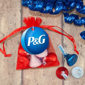 Personalized 4th of July Add Your Logo Hershey's Kisses in Organza Bags with Gift Tag