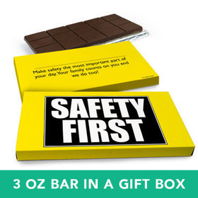 Deluxe Personalized Business Safety First Belgian Chocolate Bar in Gift Box (3oz Bar)