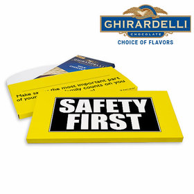 Deluxe Personalized Business Safety First Ghirardelli Chocolate Bar in Gift Box