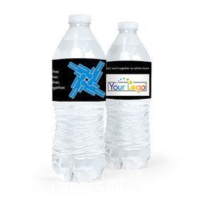 Personalized Teamwork Add Your Logo Puzzle Water Bottle Sticker Labels (5 Labels)