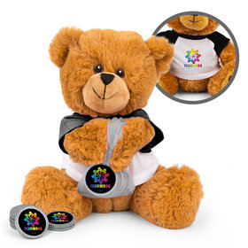 Personalized Teamwork All Hands In Teddy Bear with Chocolate Coins in XS Organza Bag