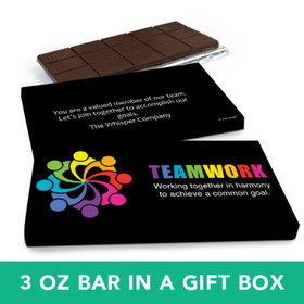 Deluxe Personalized Business All Hands In Belgian Chocolate Bar in Gift Box (3oz Bar)
