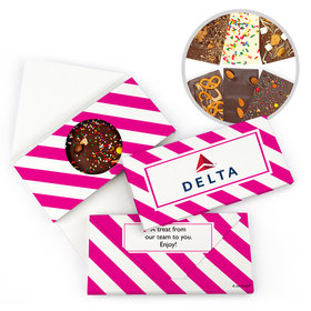 Personalized Business Add Your Logo Stripes Gourmet Infused Belgian Chocolate Bars (3.5oz)