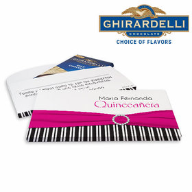 Deluxe Personalized Quinceaera Rayas y el Arco Ghirardelli Peppermint Bark Bar in Gift Box (3.5oz)