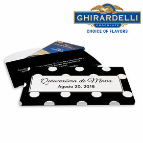Deluxe Personalized Quinceaera Lunares Ghirardelli Chocolate Bar in Gift Box